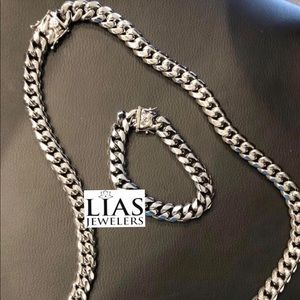 Other - New 18 k white gold Cuban link chain and bracelet